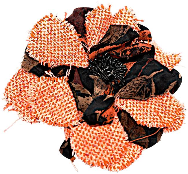 "Item - Pink Orange and Black Flower Brooch 6"" Diameter with Woven"