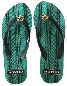 Coach black with green Sandals