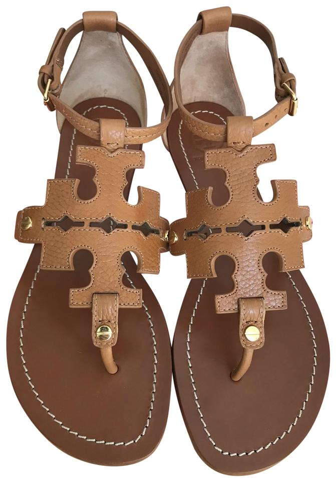 fba70a2cff24 Tory Burch Brown Elba Tumbled Leather Flat Thong Sandals Size US 6 ...