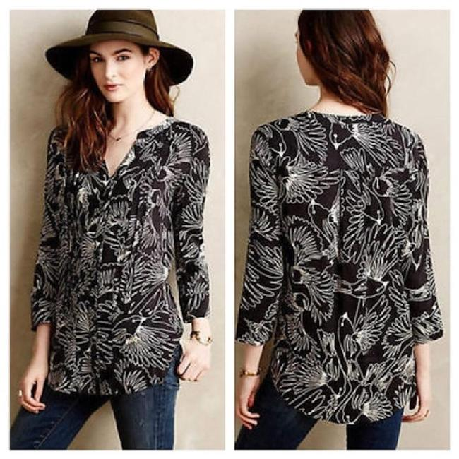 Anthropologie Black Maeve Pintuck Wild Bird Blouse Button-down Top Size 2 (XS) Anthropologie Black Maeve Pintuck Wild Bird Blouse Button-down Top Size 2 (XS) Image 1