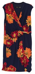 Ellen Tracy Floral Navy Cap Sleeve Dress