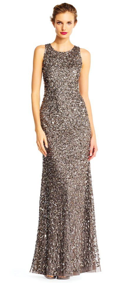 Adrianna Papell Lead Sequin Beaded Halter Gown 16w Long Formal Dress ...
