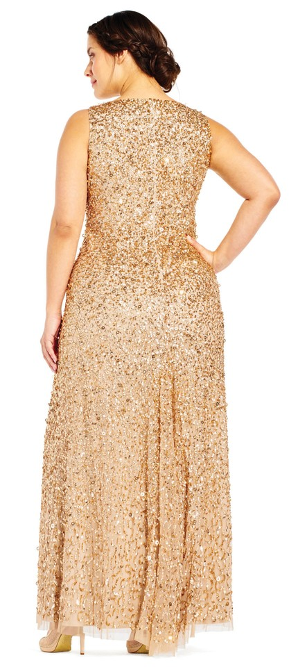 50d8af5b3dd Adrianna Papell Lead Sequin Beaded Halter Gown 16w Long Formal Dress ...