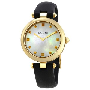 48a099f84c2 Gucci Diamantissima MOP Dial Gold Black Ladies Leather Watch