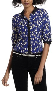 Anthropologie Animal Print Penguins Color-blocking Whimsicle Casual Button Down Shirt blue