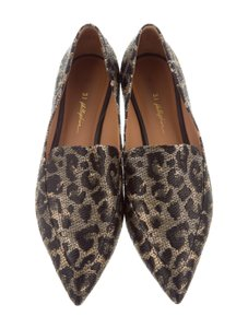 3.1 Phillip Lim Leopard Raffia Pointed Toe Loafers Brown/Black Flats