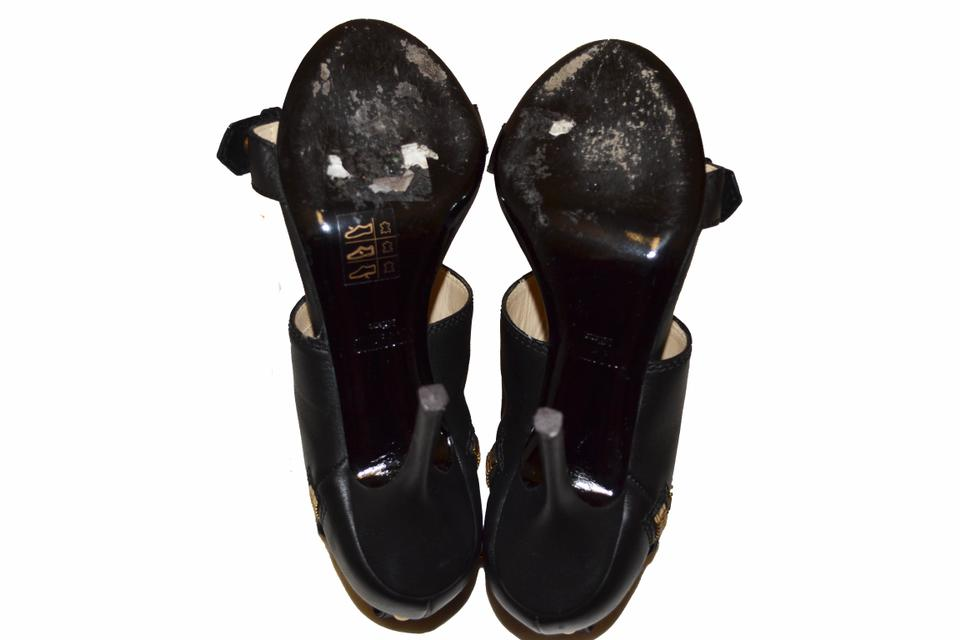 Leather Calfskin Heels Black Sandals Moschino HzqwTEUxP