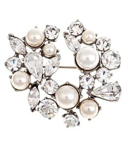 Ben-Amun Silver Pearl and Crystal Pin Hair Accessory