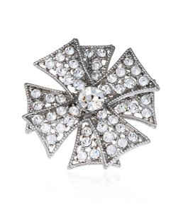 Kenneth Jay Lane Silver Double Maltese Cross Crystal Brooch/Pin
