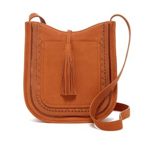 Lucky Brand Leather Tassle Saddle Tote Cross Body Bag