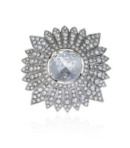 Kenneth Jay Lane Silver Small Crystal Cluster Brooch/Pin