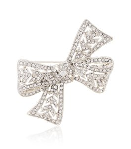Kenneth Jay Lane Silver Small Crystal Bow Brooch/Pin