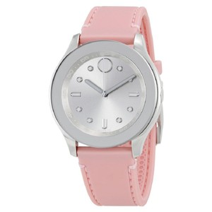 Movado Bold Silver Dial Pink Ladies Silicone Watch