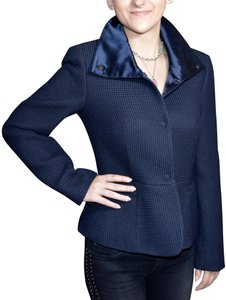 Armani Collezioni Textured Fitted Navy Blue Jacket