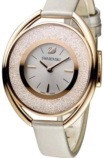 Item - Rose Gold Women's Crystalline Oval Grey Leather Band Steel C Watch