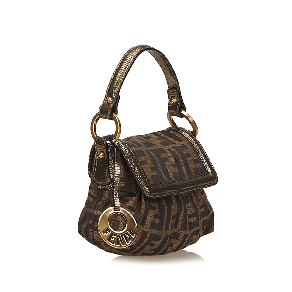 c7ee42a584d2 Fendi Zucca Mini Chef Brown Fabric X Jacquard X Leather X Others Baguette -  Tradesy