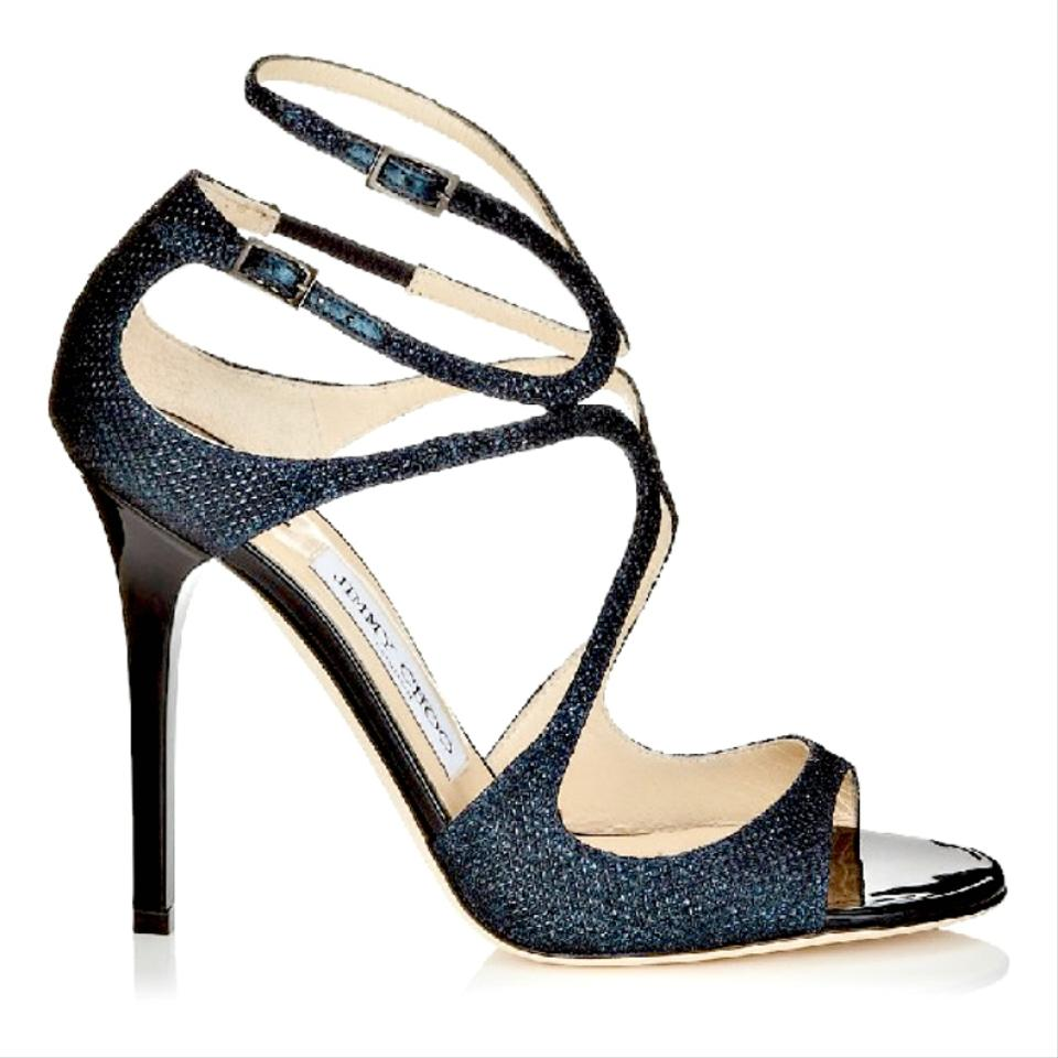0dd8e9f48938 Jimmy Choo Navy Glitter Lang Lame Sandals Size US 8.5 Regular (M