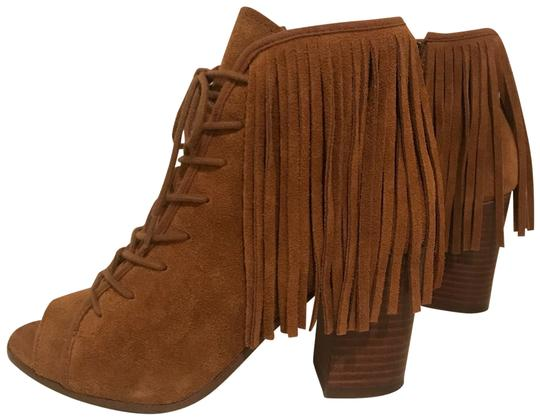52816f436b8 Steve Madden Tan Leather Fringe Moccasin Style Heels Boots Booties ...