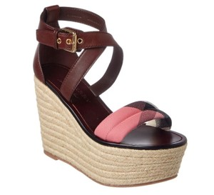 Burberry Sandal House Check Espadrille Cerise/Purple Wedges