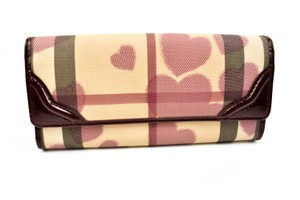 """Burberry """"Heart Check"""" & Red Leather (m) Long Wallet"""