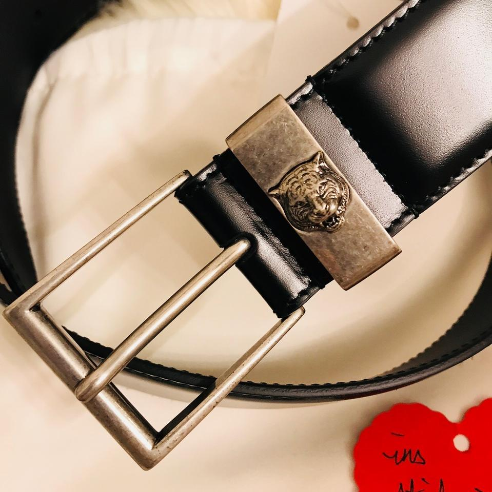 c35bf55bf Gucci Leather belt with feline head Size 85 Image 6. 1234567