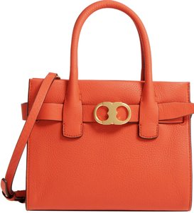 Tory Burch Leather Tote in Orange