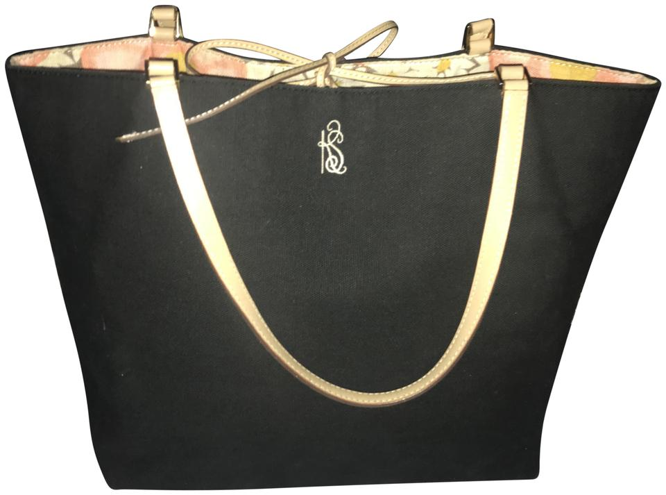 3239e4cd5f9f Kate Spade Leather Lining Zipper Inside Flowery Inside Cotton Exterior Vintage  Tote in Black   Black ...