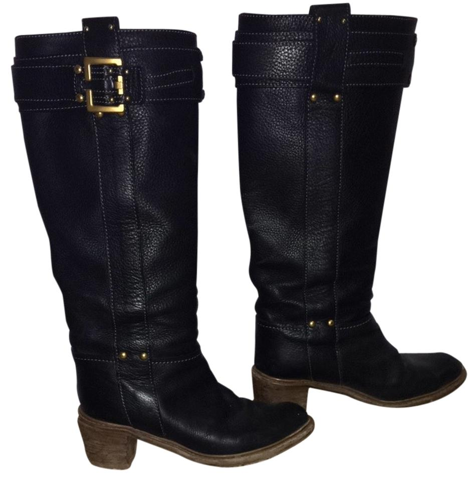 Chloé with Pebble Black with Chloé Gold Details Buckle Boots/Booties 8fe0b9