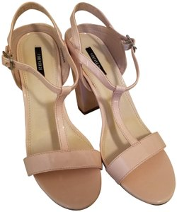Forever 21 Faux Patent Chunky Blush Pink Sandals aa117f551a41