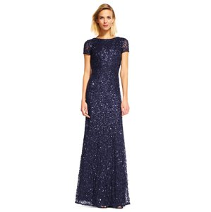 Adrianna Papell Beaded Scoop Back Gown Navy Formal Bridesmaid/Mob Dress Size 2 (XS)
