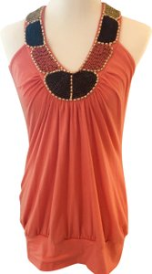 Body Central Beaded Embellished Cotton Loose Fitting Ethnic Top Orange