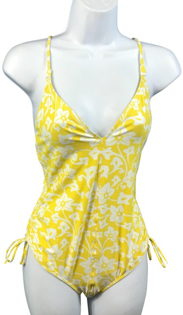 Item - Yellow/White L /White Swimsuit One-piece Bathing Suit Size 12 (L)