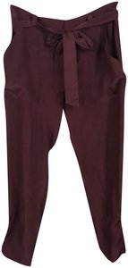 Parker Silk Straight Pants Burgundy