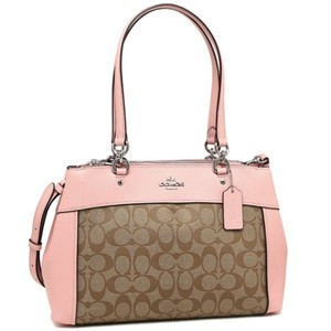 Coach Zip Top Shoulder Classic Signature Tote in Khaki Pink
