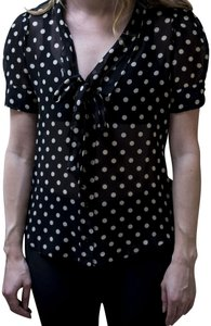 Moschino Sheer Short-sleeved Designer Top Black with White Polka Dots