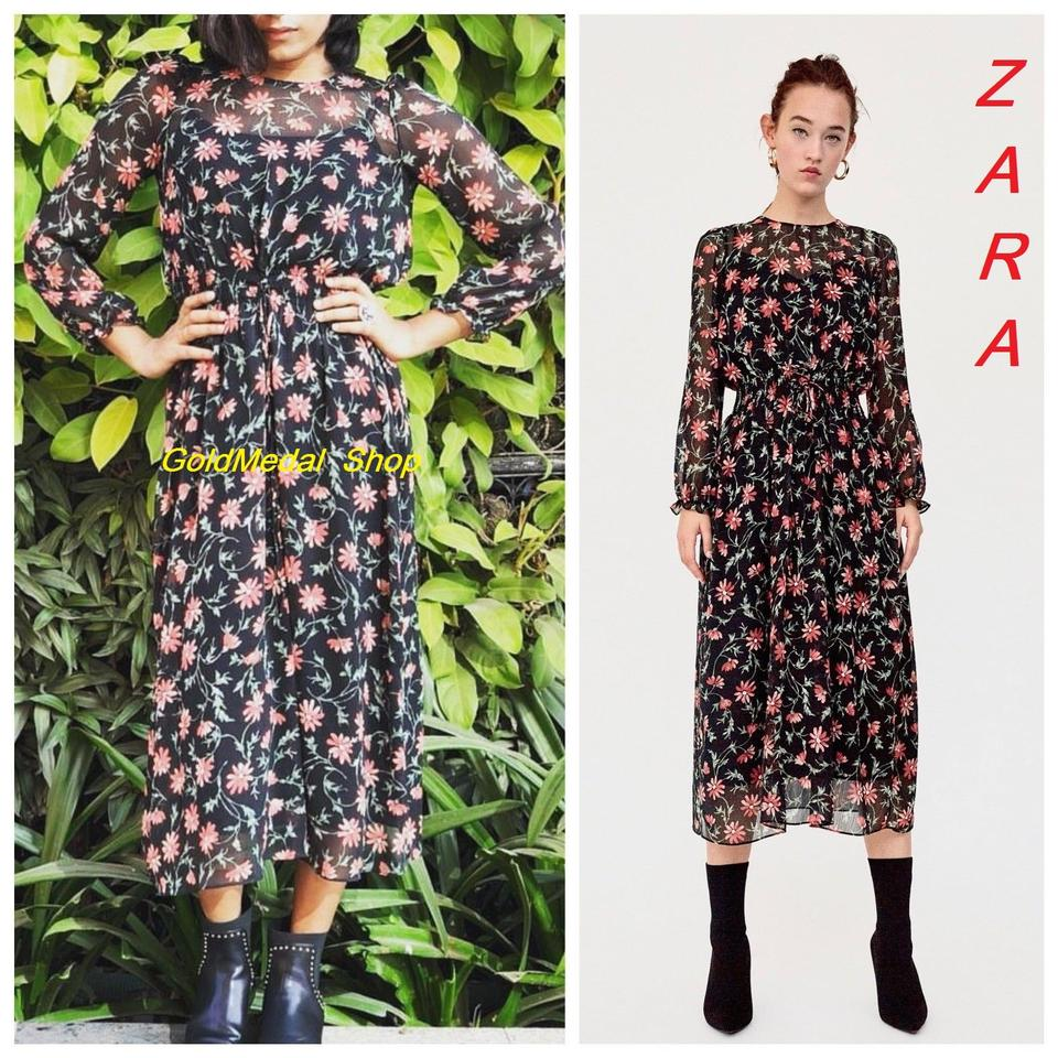 1f4f69e4a1 Zara Black Floral Print Long Sleeves Chiffon New Double Mid-length ...