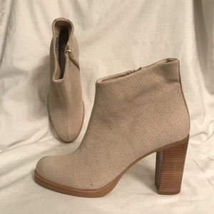 Ras Linen Leather Ankle Cushioned Designer Beige Boots