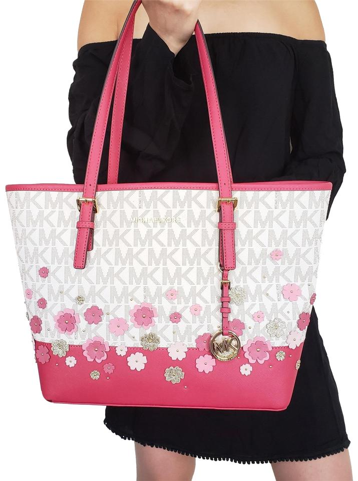85a68ceb5ee04a Michael Kors Carryall Jet Set Travel Floral Floral Vanilla Pink Tote ...