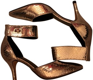 Nicole Miller New Size 5.5 Snake Ankle Strap Buckle NIB--Snake Skin TurnBuckle Pumps