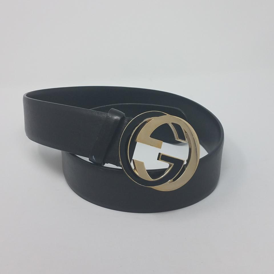 Gucci Black Gold Leather Gold,tone Gg Buckle 80,32 S Belt 42% off retail