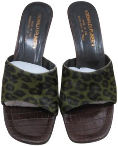 Donald J. Pliner Brown leather/green leopard print Mules