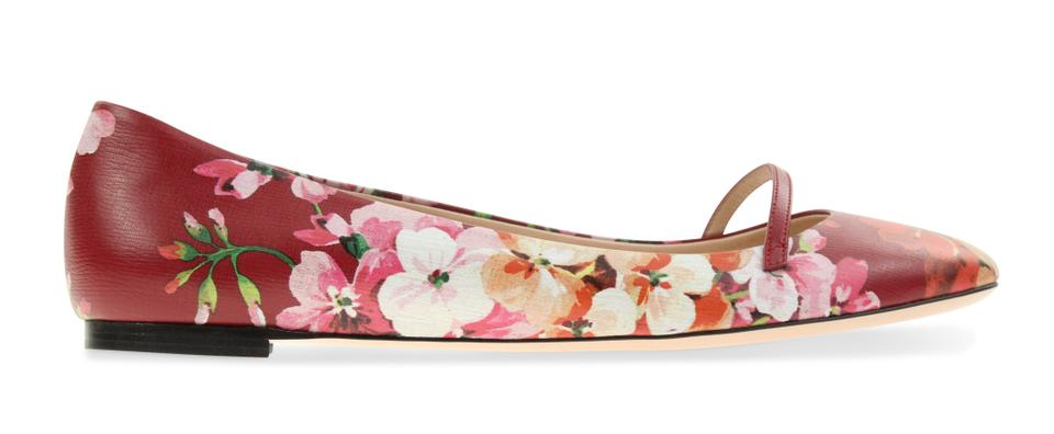 Gucci Red Shangai Blooms Mary Jane Flats Size EU 40 (Approx. US 10 ...