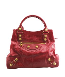 Balenciaga Leather Tote in Red