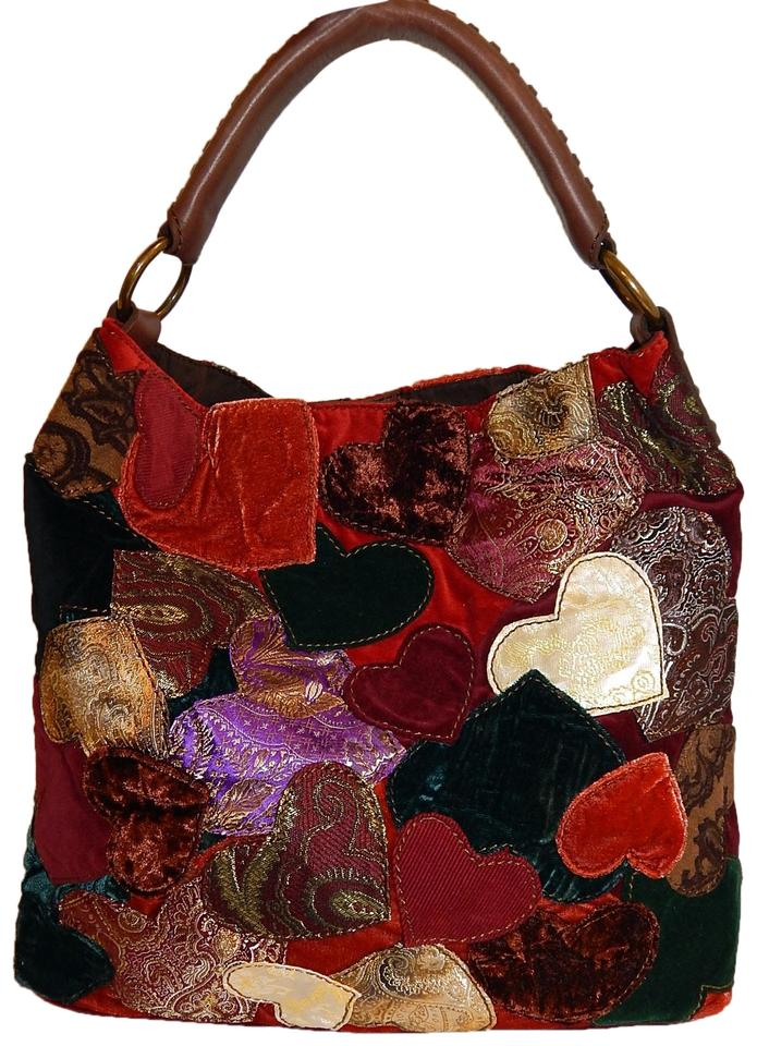 Lucky Brand Patchwork Heart Leather Hobo Bag