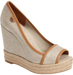 Tory Burch Natural Royal Tan Wedges