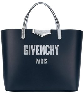 Givenchy Antigona Ping Handbag Tote In Blue And Silver