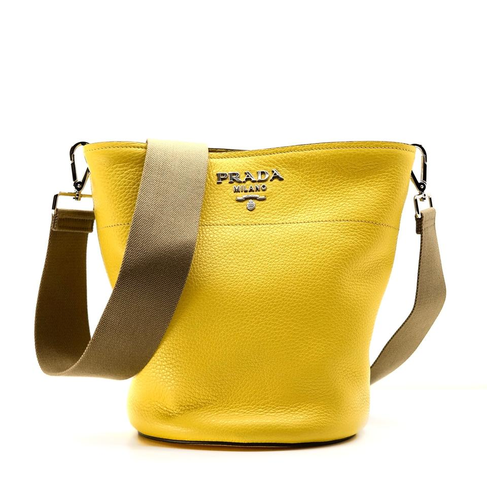 314b4bf18016 Prada Vitello Daino Bucket Yellow Leather Shoulder Bag - Tradesy
