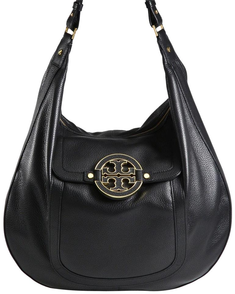 a6c5d9b0044f Tory Burch Amanda Pebbled with Hardware Logo Black and Gold Leather Hobo Bag