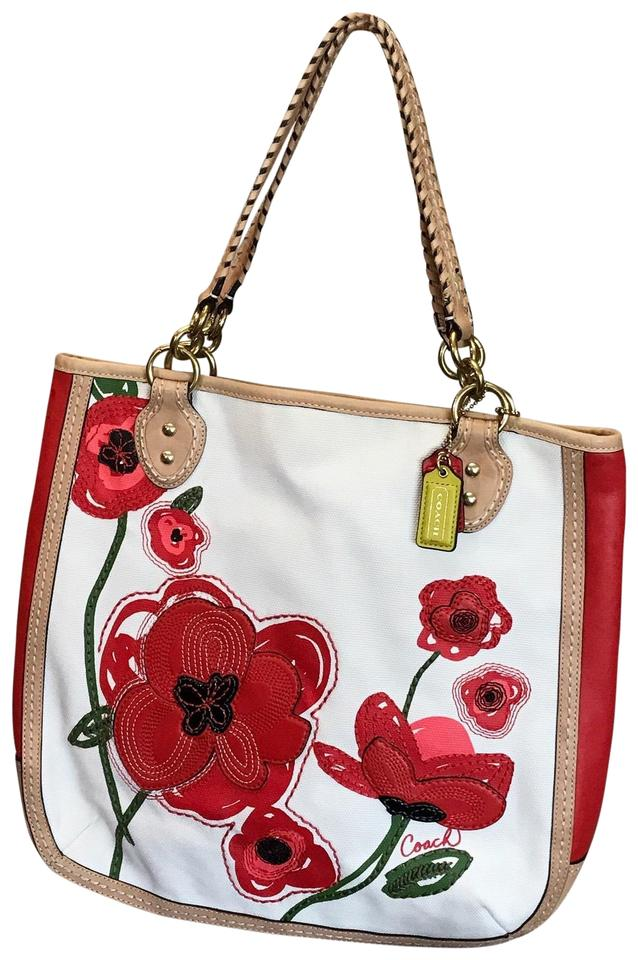 Coach Poppy Limited Edition Flower Applique Purse Leather Red And