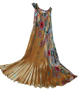 Gold with muti colored floral Maxi Dress by India Boutique Sleeveless Pleated